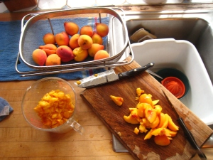 Peel, chop, measure. Yes, that is my new Cutco knife that we bought at the county fair this year.